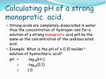 calculating ph of a strong monoprotic acid