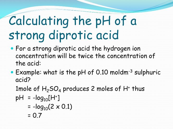 Calculating the pH of a strong