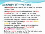 summary of titrations