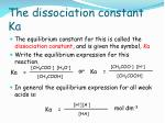 the dissociation constant ka