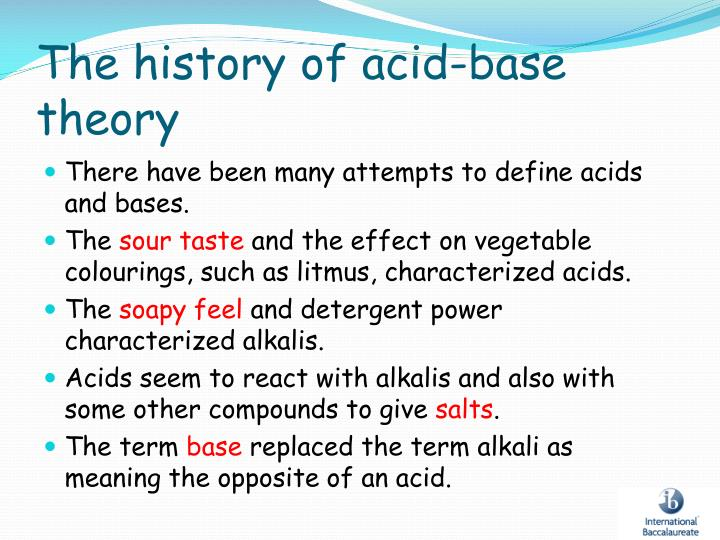 The history of acid base theory
