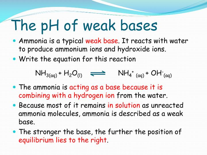 The pH of weak bases