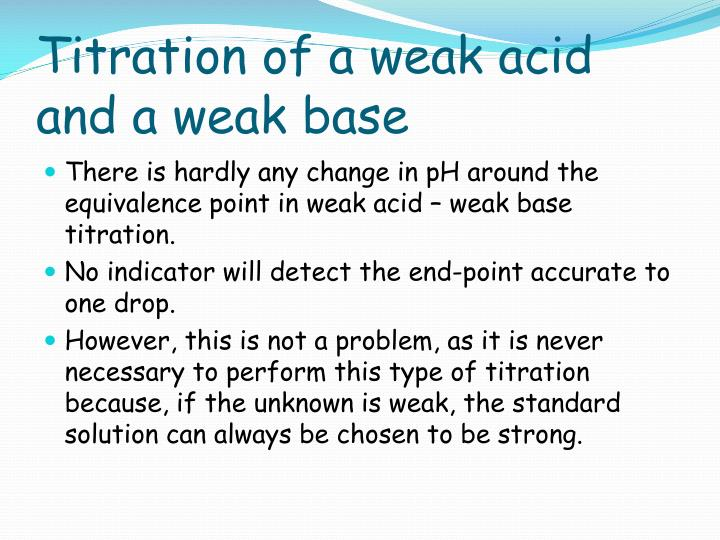 Titration of a weak acid and a weak base