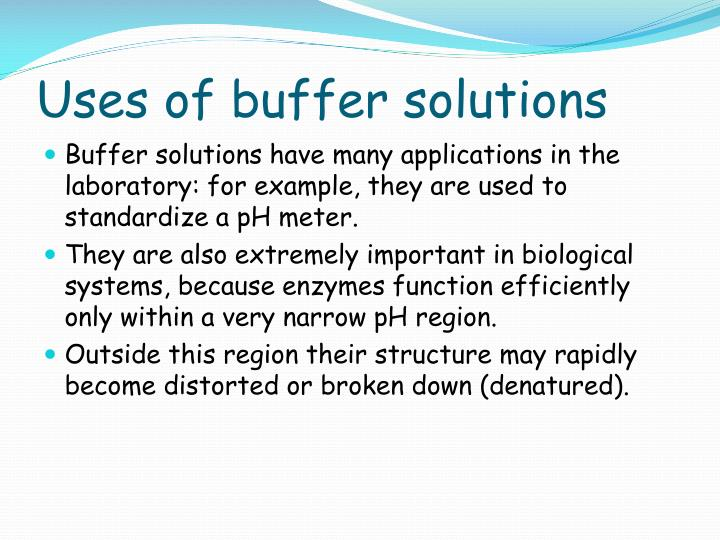 Uses of buffer solutions