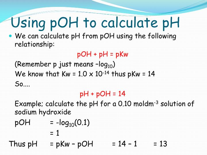 Using pOH to calculate pH