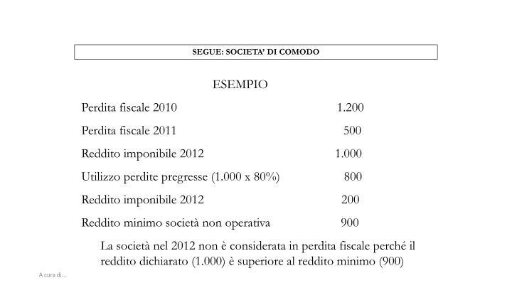 SEGUE: SOCIETA' DI COMODO
