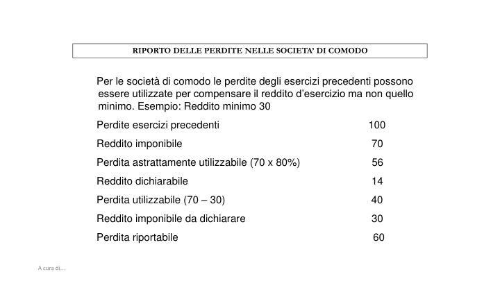 RIPORTO DELLE PERDITE NELLE SOCIETA' DI COMODO