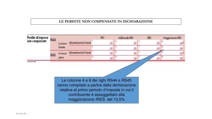 LE PERDITE NON COMPENSATE IN DICHIARAZIONE