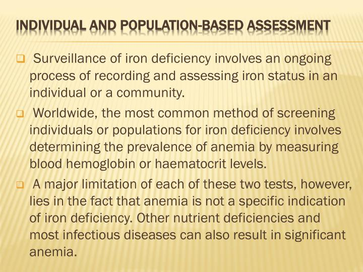 Surveillance of iron deficiency involves an ongoing process of recording and assessing iron status in an individual or a community.