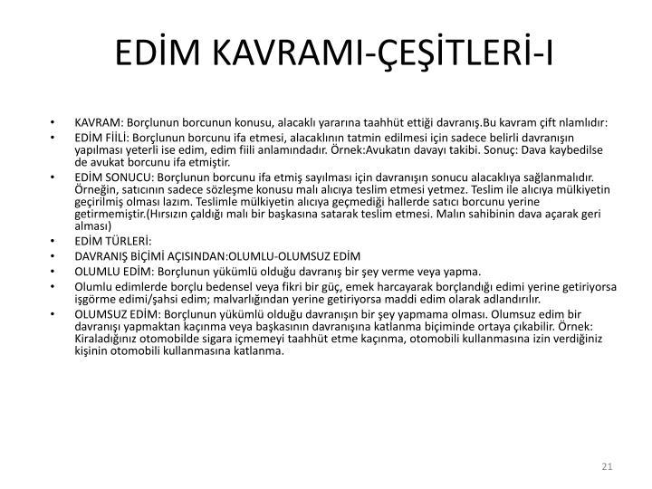 EDİM KAVRAMI-ÇEŞİTLERİ-I