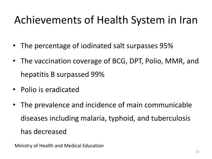Achievements of Health System in Iran