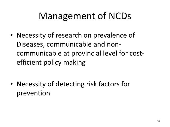 Management of NCDs