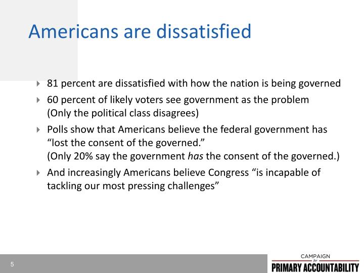Americans are dissatisfied