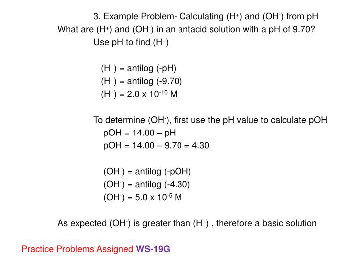 3. Example Problem- Calculating (H