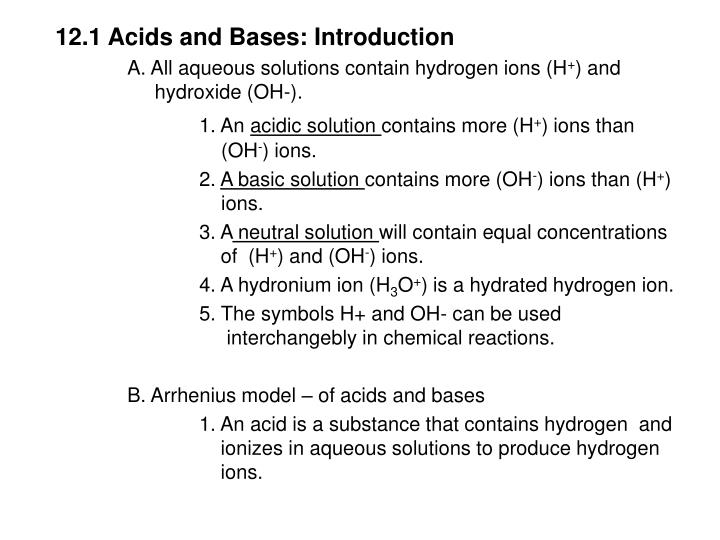 12.1 Acids and Bases: Introduction