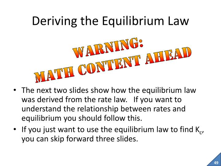 Deriving the Equilibrium Law