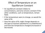 effect of temperature on an equilibrium constant