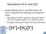equivalence of h and h 3 o