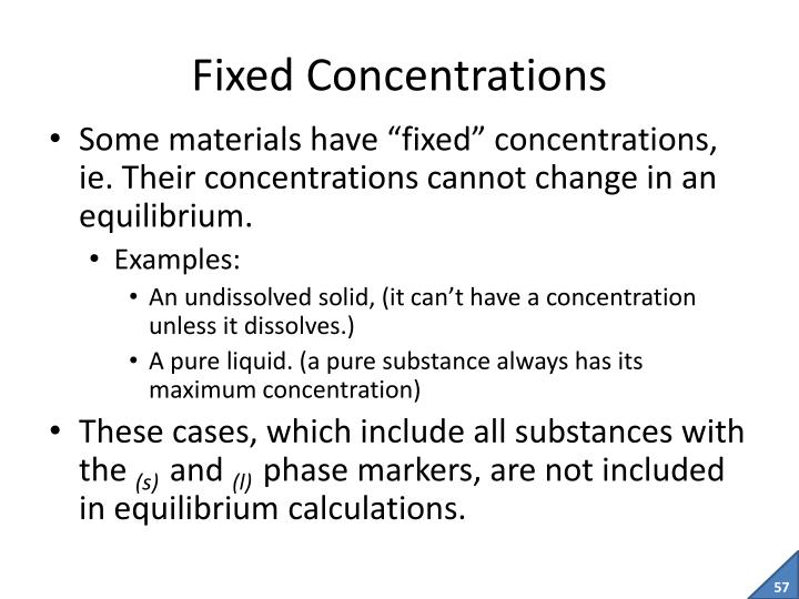 Fixed Concentrations