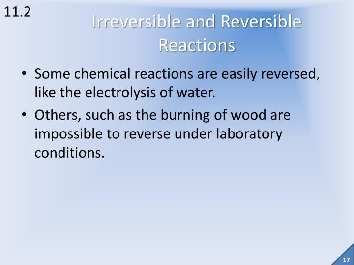 Some chemical reactions are easily reversed, like the electrolysis of water.