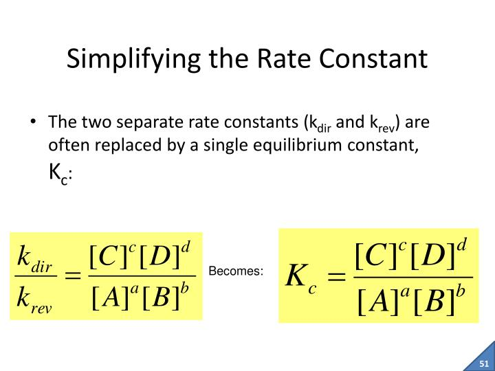 Simplifying the Rate Constant
