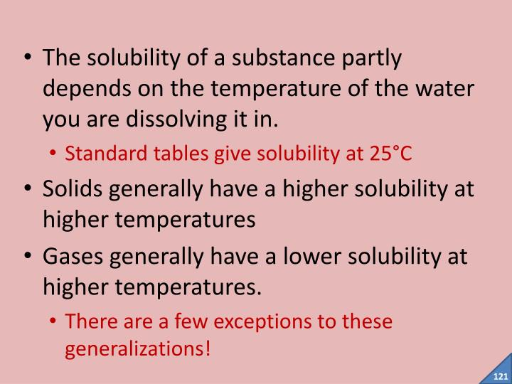 The solubility of a substance partly depends on the temperature of the water you are dissolving it in.