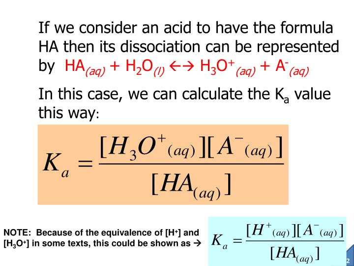 If we consider an acid to have the formula HA then its dissociation can be represented by