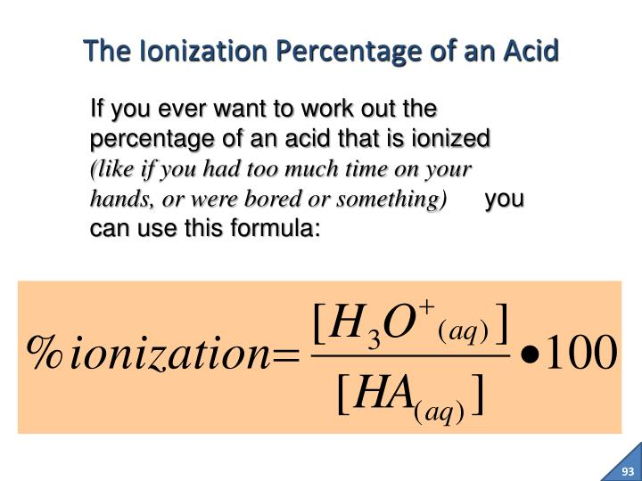 The Ionization Percentage of an Acid