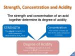 strength concentration and acidity