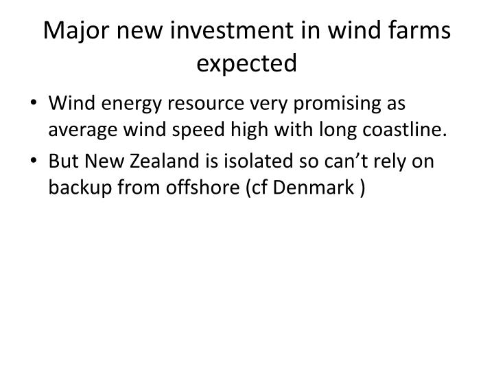 Major new investment in wind farms expected
