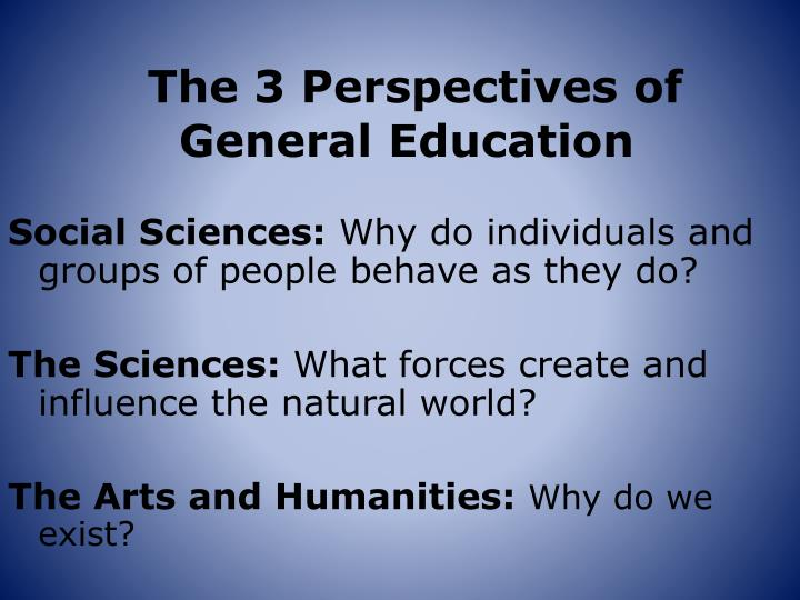 The 3 perspectives of general education