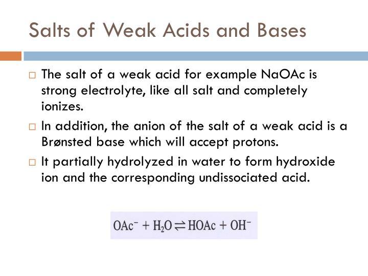 Salts of Weak Acids and Bases