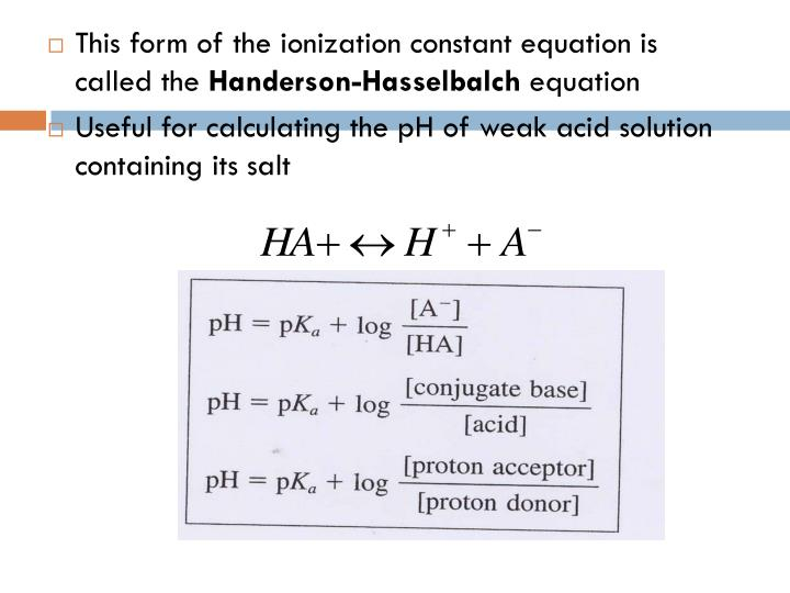 This form of the ionization constant equation is called the