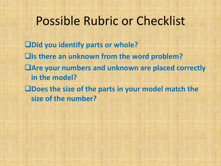 Possible Rubric or Checklist