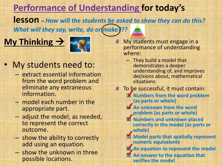 Performance of Understanding