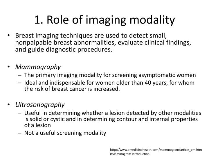 1 role of imaging modality