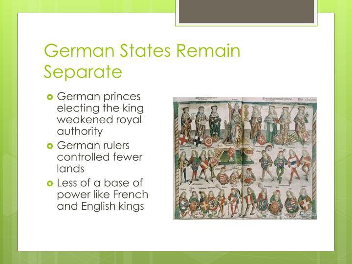 German States Remain Separate