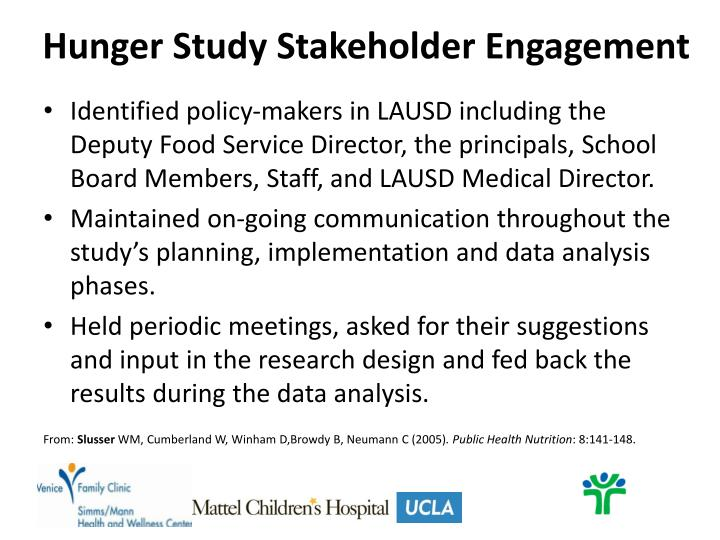 Hunger Study Stakeholder Engagement