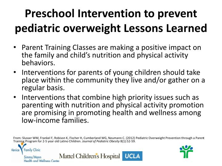 Preschool Intervention to prevent pediatric