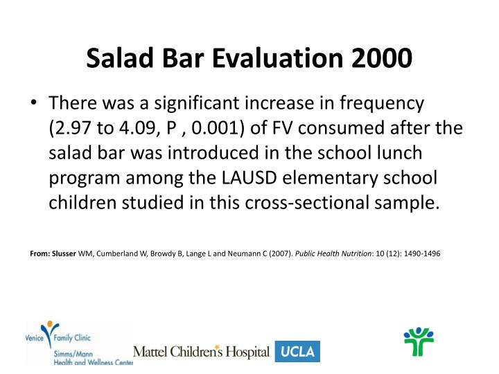 Salad Bar Evaluation 2000