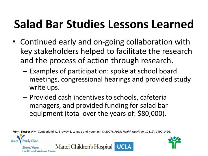Salad Bar Studies Lessons Learned