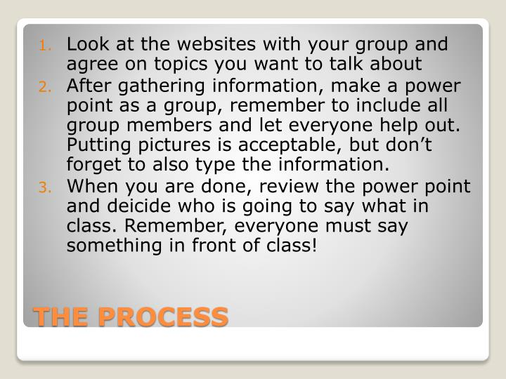 Look at the websites with your group and agree on topics you want to talk about