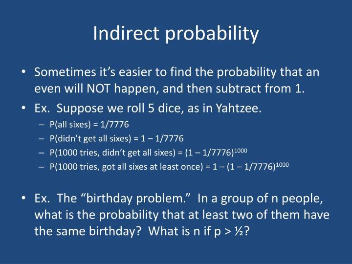 Indirect probability