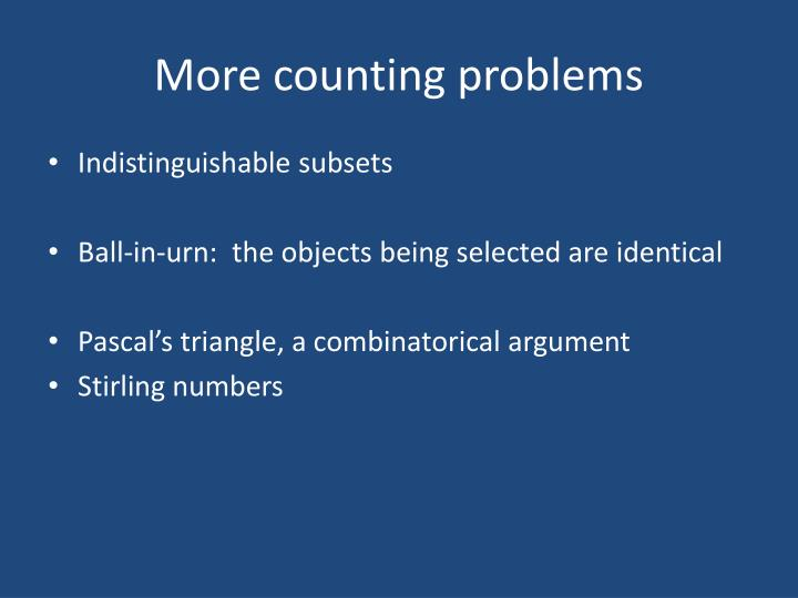 More counting problems