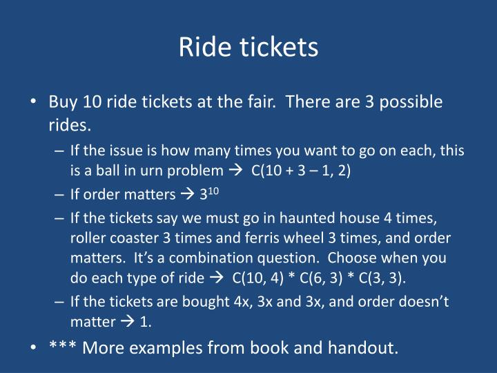Ride tickets