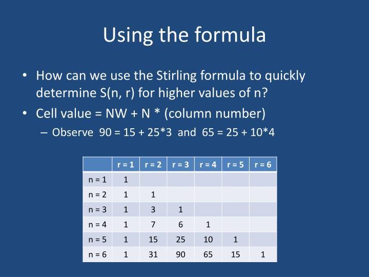 Using the formula