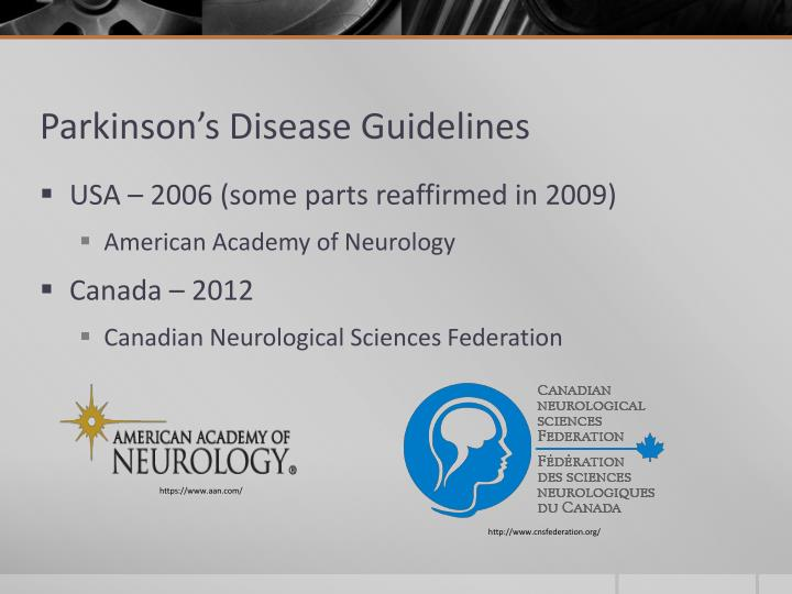 Parkinson's Disease Guidelines