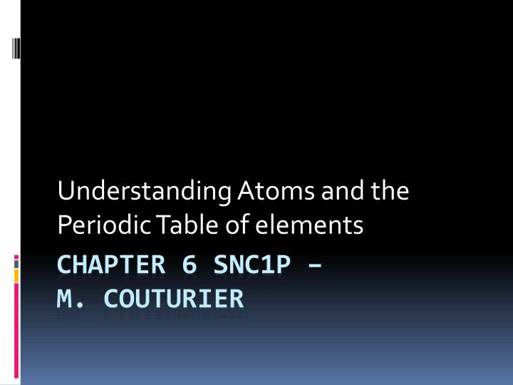 Understanding atoms and the periodic table of elements