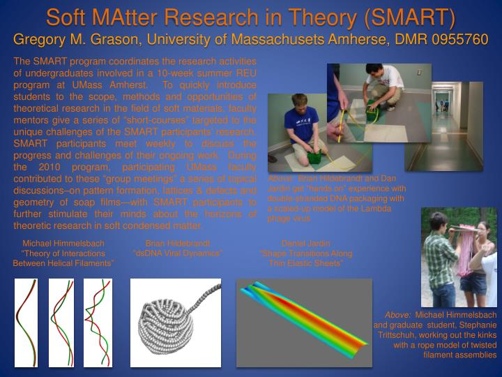 "The SMART program coordinates the research activities of undergraduates involved in a 10-week summer REU program at UMass Amherst.  To quickly introduce students to the scope, methods and opportunities of theoretical research in the field of soft materials, faculty mentors give a series of ""short-courses"" targeted to the unique challenges of the SMART participants' research.  SMART participants meet weekly to discuss the progress and challenges of their ongoing work.  During the 2010 program, participating UMass faculty contributed to these ""group meetings"" a series of topical discussions–on pattern formation, lattices & defects and geometry of soap films—with SMART participants to further stimulate their minds about the horizons of theoretic research in soft condensed matter."