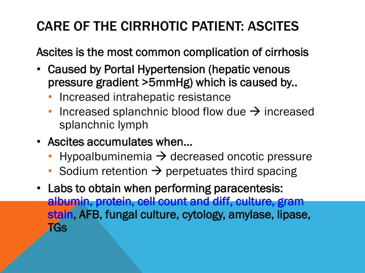Care of the cirrhotic patient: ascites